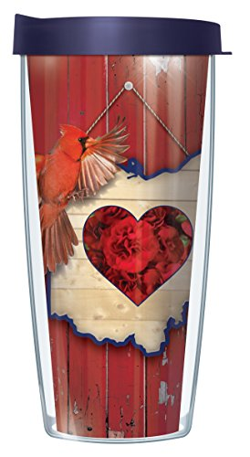 Ohio State Bird Flower (Ohio State Bird & Flower 16 Oz Traveler Tumbler Mug with Lid)