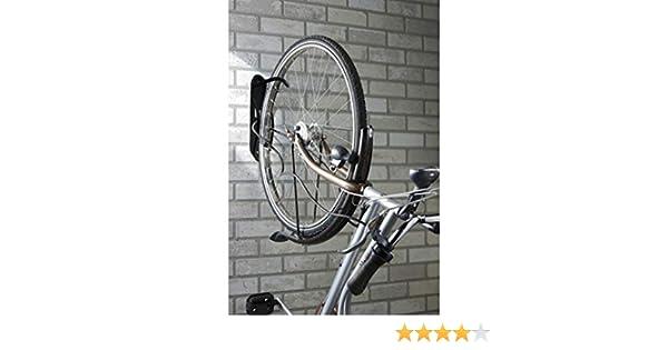 Montaje de pared de bicicleta, gancho de acero con un recubrimiento de vinilo, fijación en la posición vertical, instalación compacta, peso máximo: 50 kg, ...