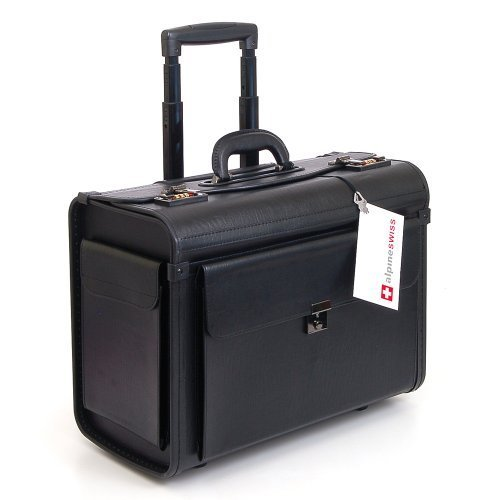 """#LightningDeal 97% claimed: Alpine Swiss Rolling 17"""" Laptop Briefcase on Wheels Attache Lawyers Case Legal Size"""