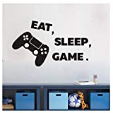 Arttop Eat Sleep Game Wall Decal,Video Gamer Wall Sticker,Joystick Gamer Decor For Playroom, Children Gift Nursery Boys Room Wall Vinyl Decal Lettering Stickers Home Decor