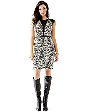 Guess Faux-Leather-Trim Lace-Inset Bodycon Dress