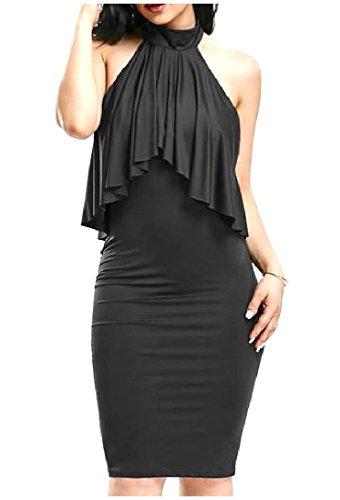 Clubwear Backless Solide Féminin Coolred Volanté Robe Ourlet Moulante Noire