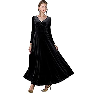 Urban CoCo Women Long Sleeve V-Neck Velvet Stretchy Long Dress: Clothing