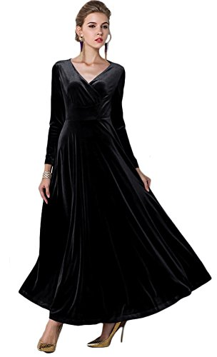 75b241426f8 Urban CoCo Women Long Sleeve V-Neck Velvet Stretchy Long Dress - Buy ...