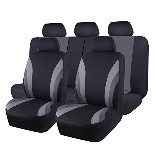 NEW ARRIVAL- CAR PASS Line Rider 11PCS Universal Fit Car Seat Cover -100% Breathable With 5mm Composite Sponge Inside,Airbag Compatible(Black and -