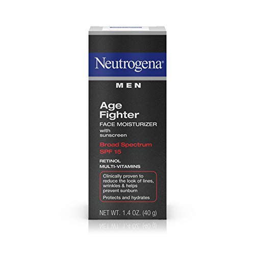 Neutrogena Age Fighter Anti-Wrinkle Face Moisturizer for Men, Daily Oil-Free Face Lotion with Retinol, Multi-Vitamins, and Broad Spectrum SPF 15 Sunscreen, 1.4 oz (Best Men's Face Cream For Anti Aging)