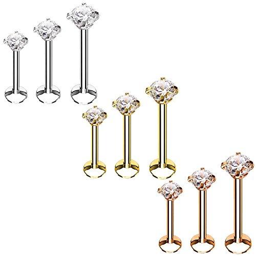 BodyJ4You 9PC Labret Stud Tragus Earring Set 16G Multicolor Crystal Helix Lip Monroe Cartilage (Piercing Kit Monroe)