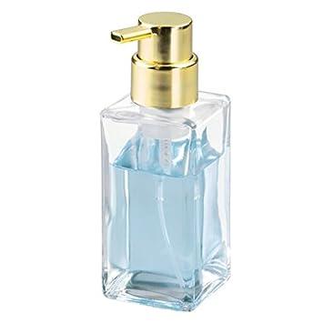 mDesign Dosificador de jabón en espuma recargable con 414 ml de capacidad - Dispensador de jabón rectangular de cristal con cabezal de plástico ...