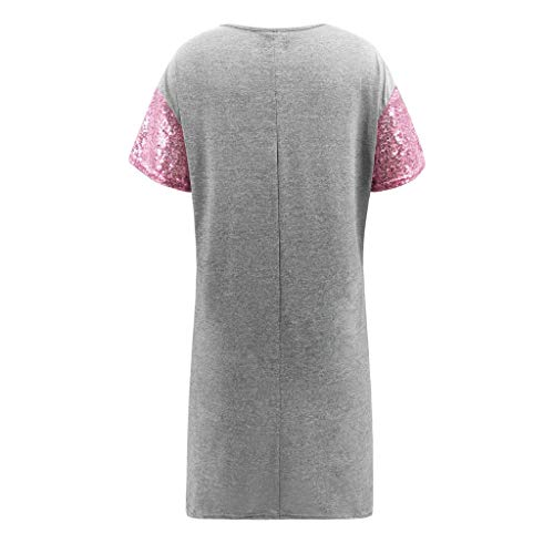 WYTong Women Ladies Casual Sequin Patchwork Mini Dress Short Sleeve Crew Neck Summer Dresses(Pink,L) by WYTong Hot Sale! (Image #3)