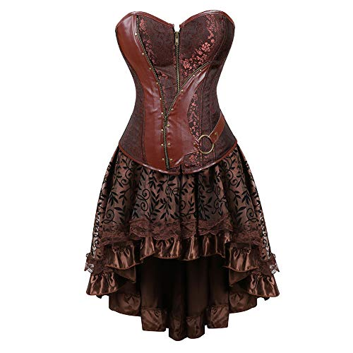 (Grebrafan Steampunk Retro Steel Boned Corset with Fluffy Pleated Layered Tutu Skirt (US(14-16) 3XL, Brown))