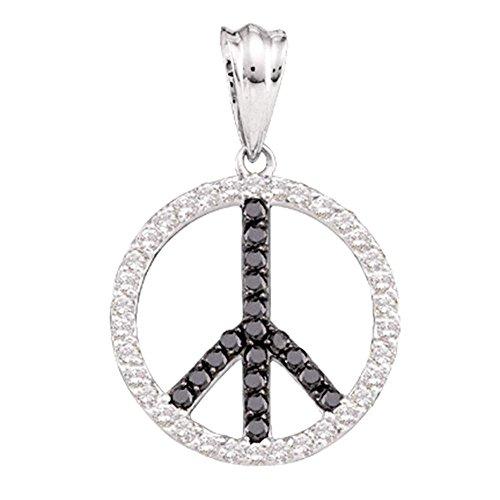 14kt White Gold Womens Round Black Color Enhanced Diamond Peace Sign Circle Pendant 3/4 Cttw