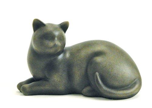 Near & Dear Pet Memorials Cozy Cat Resin Cremation Urn, 25 Cubic Inch, Sable