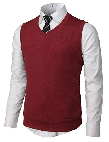 H2H Mens Cotton Blended Knit Vest Wine US M/Asia L (CMOV049)