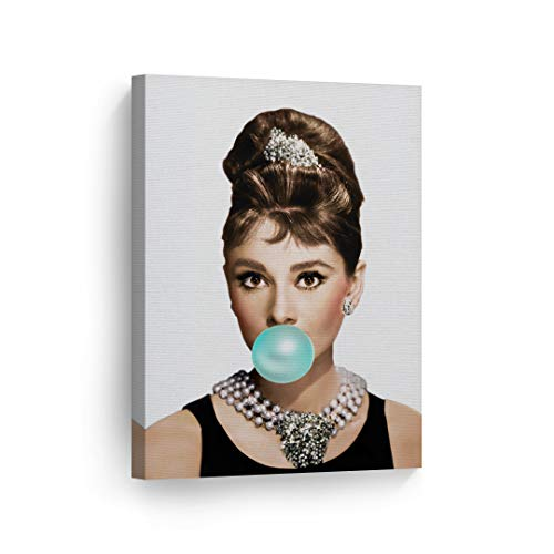 Audrey Hepburn Bubble Gum Chewing Gum Canvas Print Home Decor/Iconic Wall Art/Gallery Wrapped Canvas Art Stretched/Ready to Hang (22 x 15) -
