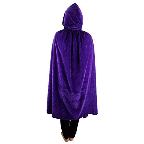SUNYIK Unisex Kids Velvet Long Hooded Cloak Cape Halloween Party Role Cosplay Costumes,Purple,S - Velvet Witch Child Costumes