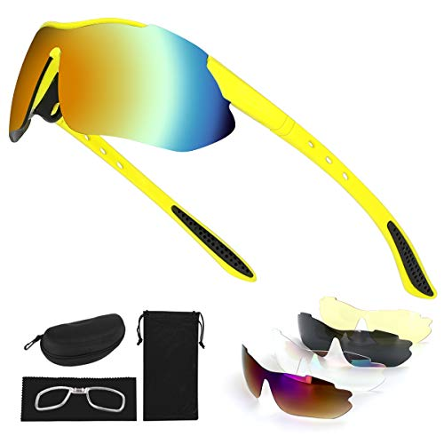 Tancci Sports Cycling Sunglasses, Bicycle Glasses with 5 Interchangeable Lenses-Ergonomic with Reducing Harmful UVA & UVB Rays for Men&Women Running/Golf/Fishing/Cycling/Outdoor Sports(Yellow)