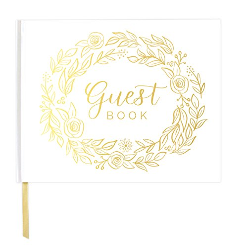 "bloom daily planners Wedding Guest Book (120 Pages) Guest Sign-in Book Guest Registry Guestbook - White Cover with Gold Foil, Gilded Edges and Gold Page Marker Hardbound 7"" x 9"" - Floral"