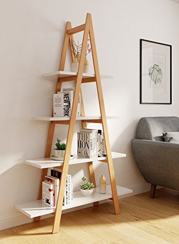 Universal Experts FUBC10008A Abacus Ladder Bookshelf Oak White