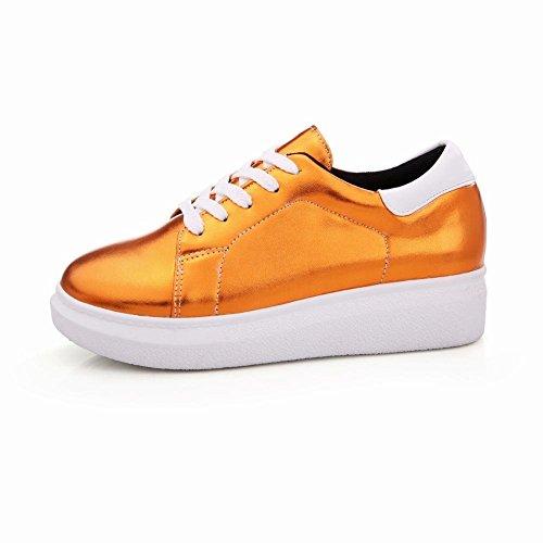 Latasa Womens Fashion Lace-up Flat Oxford Shoes, Fashion Sneakers Orange