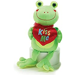 """Kiss Me"" Bright Green Plush Frog 10"" - Valentine's Day Heart Stuffed Animal"