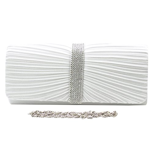 LADIES TM BRIDAL WOMENS BAG DIAMANTE Crystal PROM CLUTCH White Elegant SPARKLY WEDDING PARTY NEW EVENING Wocharm BRAND Satin gqpndx6gw4