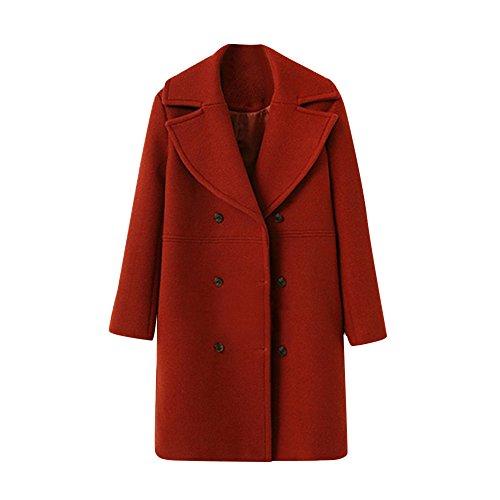 NEEDRA Trench Coat Ladies Teenage Girls Warm Winter Coat Outwear Women Button Jacket Boucle Coat Red