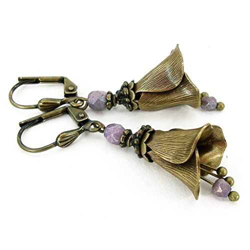 Victorian Style Brass Flower Earrings with Lavender Czech Glass Beads and Dangles -