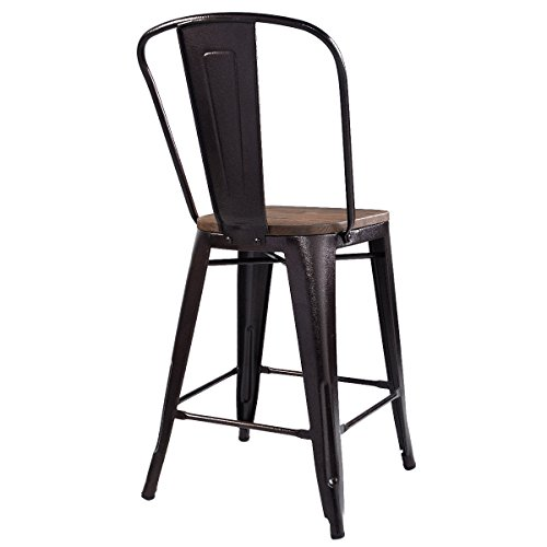 Costway Copper Set of 2 Tolix Style Metal Dining Chairs with Wood Seat Stackable Industrial Cafe Side Chairs (Height 29'') by COSTWAY (Image #2)