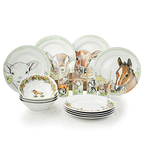 Everything Kitchens Baby Barnyard Animals Dinnerware Set (16 Piece with Drinking Glasses) (Dinnerware Barnyard Animals)
