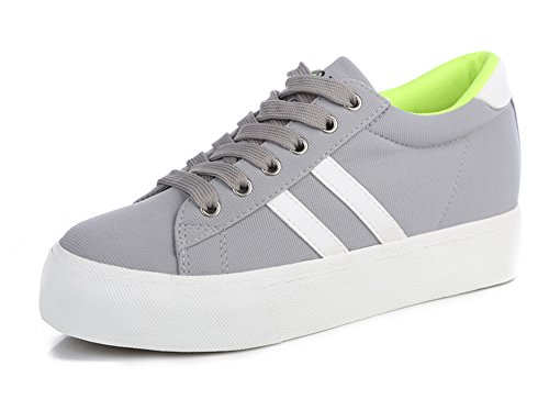 Aisun Women's Fashion Soft Platform Canvas Shoes Sneakers Gray 7 B(M) US