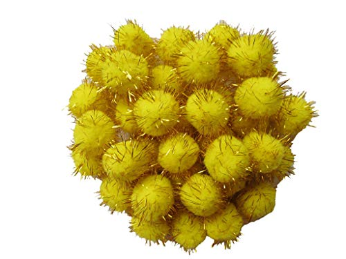YYCRAFT 50pcs Glitter Pom Poms 30mm Sparkle Poms Balls Cat Toy for Kittens-Yellow