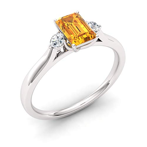 Diamondere Natural and Certified Citrine and Diamond Engagement Ring in 14K White Gold | 0.70 Carat Three Stone Ring for Women, US Size 6.5