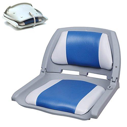[pro.tec] Bootsstuhl / Steuerstuhl - klappbar und gepolstert [blau-weiß] Kunstleder