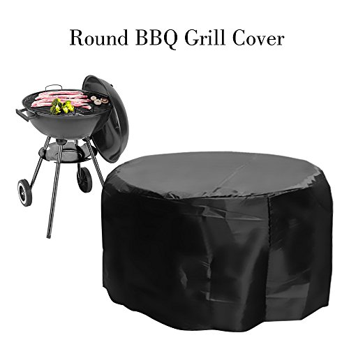 BBQ Gas Grill Cover, IC ICLOVER 30-inch Heavy Duty Waterproof BBQ Barbecue Cover, Patio Garden Round Fire Pit Cover with UV and PVC Coating Water Resistant for Weber,Brinkmann,Char Broil - [30