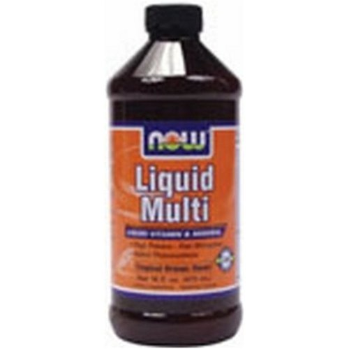 NOW  Liquid Multi Vitamin and Mineral Orange Iron Free with Xylitol 16-Ounce