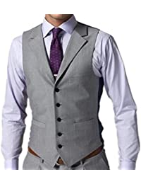 da6754eb401 Men s Business Suit Vest V-Neck 5 Buttons Regular Fit Waistcoat