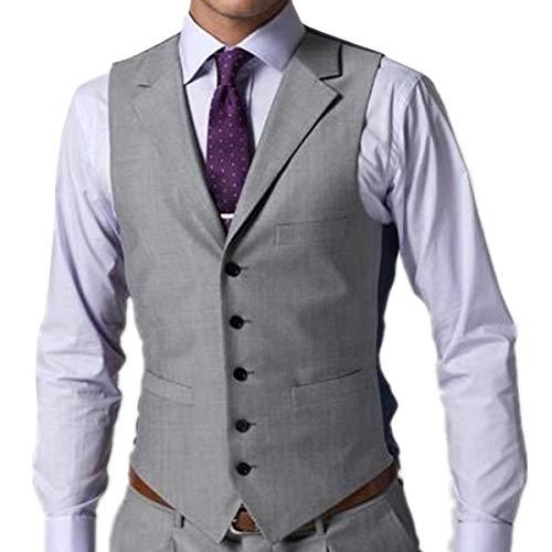 YBang Men's Casual Suit Waistcoat Flat Collar Regular Fit Vest WD001 (Gray,M)