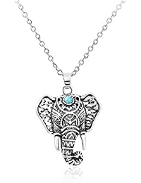Vintage Elephant Pendent Necklace Animal Ring Jewelry For Women Silver Tone