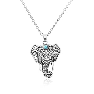 Cyntan Vintage Elephant Pendent Necklace Animal Ring Jewelry For Women Silver Tone