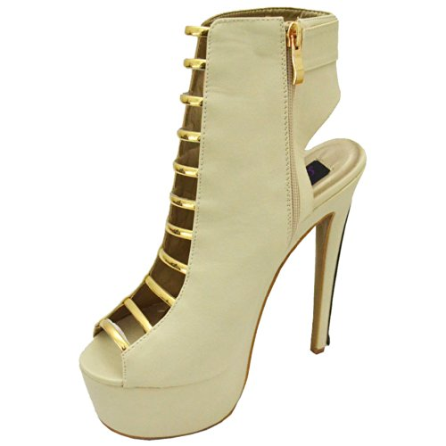 Cleopatra Damessneakers Dames Diva-05 Enkelbandje, Beige