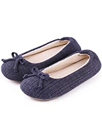 Cozy Niche Women's Closed Toe Knitted Stripe Memory Foam House Slippers With Cute Bow, Perfect for Spring and Summer