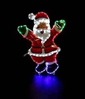 garden mile large waving santa claus multi function rope light silhouette pre lit with - Christmas Light Up Window Decorations