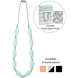 Goobie Baby Naomi Teething Necklace for Mom to Wear, 100% Safe Silicone - Mint/Marble