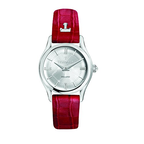 TRUSSARDI Women's T-Light Stainless Steel Analog-Quartz Leather Strap, red, 16 Casual Watch (Model: R2451127502) ()