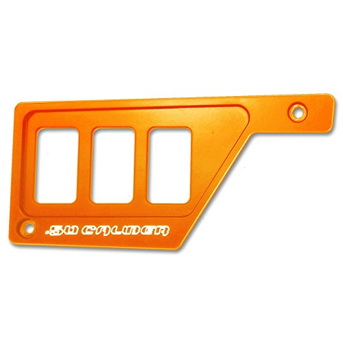 50 Caliber Racing 3 Switch Dash Panel Only LH Left Side Billet Aluminum Orange Powdercoated without Waterproof Illuminated Switch fits RZR XP1000 [5357E14]
