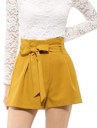 (Allegra K Women's Summer Pockets Tie Waist Belted High Waist Pleated Front A-Line Shorts Yellow S (US 6))