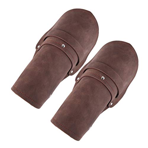HZMAN Leather Gauntlet Wristband Medieval Bracers Wrist Band Wide Bracer Arm Armor Cuff, 2 Pcs (Brown)