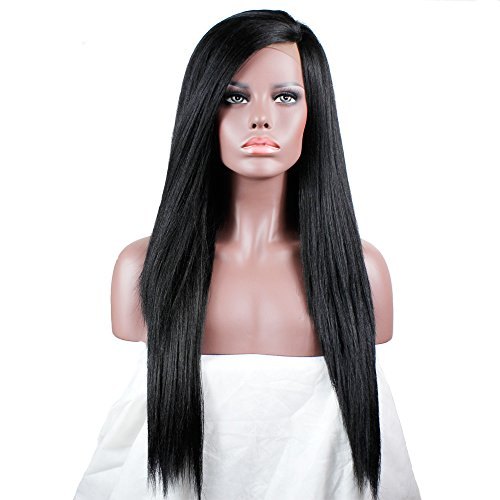 Search : Long Yaki Straight Lace Front Wigs For Women L Part Wig Synthetic Lace Front Wigs African American Wigs 20 Inches Candice (1)