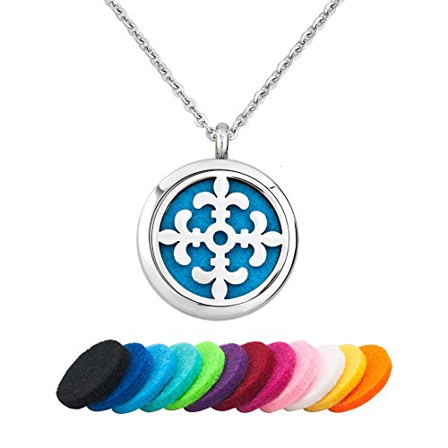 ur De Lis Necklace For Essential Oil Diffuser Aromatherapy Jewelry, 12 Refill Pads ()