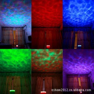 QFL Luz de colores romántica emite las ondas de la mar hasta el ...